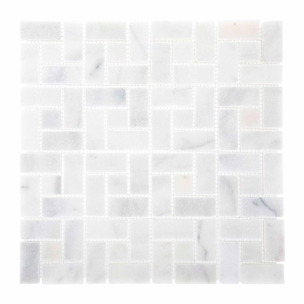 Jeffrey Court 12x12 Ice Blocks 10mm White Marble Mosaic
