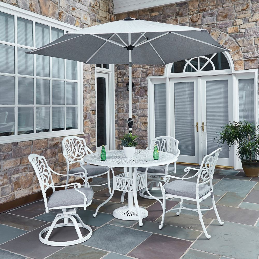 Home Styles Floral Blossom 5-Piece Patio Dining Set with 48-inch Round Table, Chairs & Umbrella in White