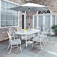 Floral Blossom 7-Piece White Patio Dining Set with Rectangular Table with Arm Chairs & Umbrella