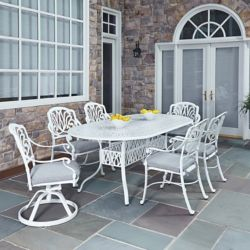 Home Styles Floral Blossom 7-Piece Patio Dining Set with Rectangular Table and Chairs in White