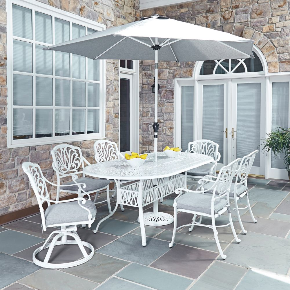 Home Styles Floral Blossom 7-Piece Patio Dining Set with Rectangular Table, Chairs & Umbrella in White