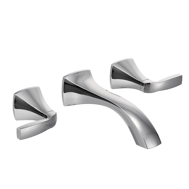 Voss Wall Mount 2-Handle Low-Arc Lavatory Faucet Trim Kit in Chrome (Valve Not Included)