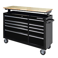 52-inch 10-Drawer Mobile Workbench with Adjustable-Height Top in Black