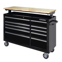 HUSKY 52-inch 10-Drawer Mobile Workbench with Adjustable-Height Top in Black