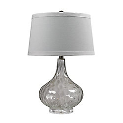 Titan Lighting 24 Inch Clear Water Glass Table Lamp With White Linen Shade