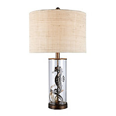 Largo 26 Inch Table Lamp In Bronze And Clear Glass With Natural Linen Shade