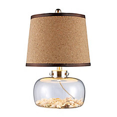 Margate 20 Inch Table Lamp In Clear Glass With Shells And Natural Cork Shade