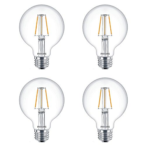 Philips 60W Equivalent Clear G25 Filament LED Light Bulb (4-Pack)