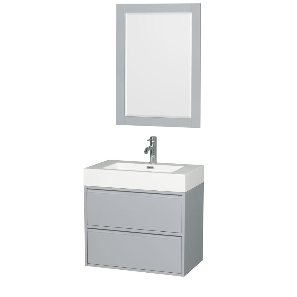 Wyndham Collection Daniella 29.25-inch W 2-Drawer Wall Mounted Vanity in Grey With Acrylic Top in White With Mirror