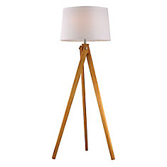 Wooden 63 Inch Tripod Floor Lamp in Natural Wood Tone