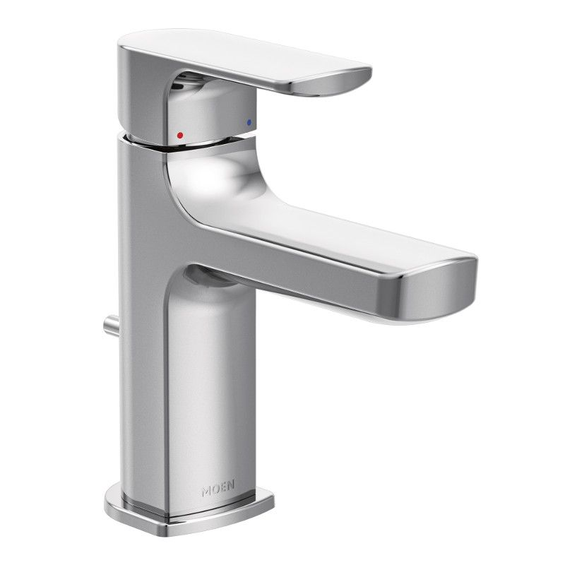 Moen Rizon Single Hole 1-Handle Low Arc Bathroom Faucet in Chrome with Lever Handle