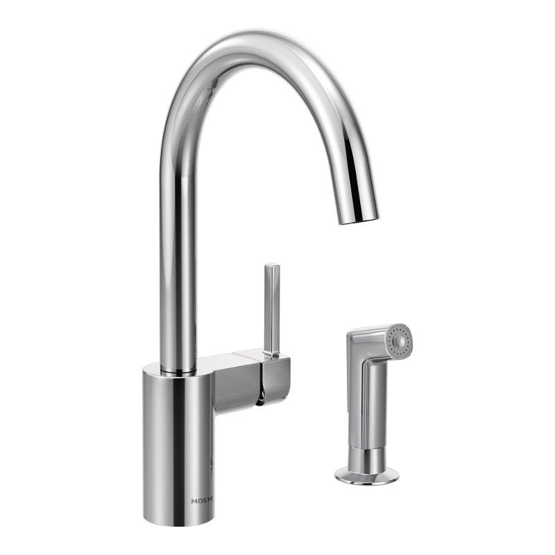 Moen Align Single-Handle Standard Kitchen Faucet with Side Sprayer in Chrome