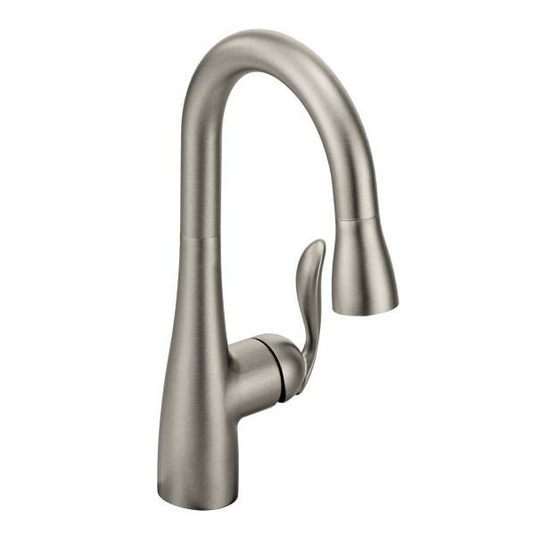 Moen Arbor One-Handle High Arc Pull Down Single Mount Bar Faucet In Spot Resist Stainless