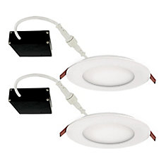 Strak LED  4 inch Round Slim Panel With J box  3000K WH Dimmable -2 Pack