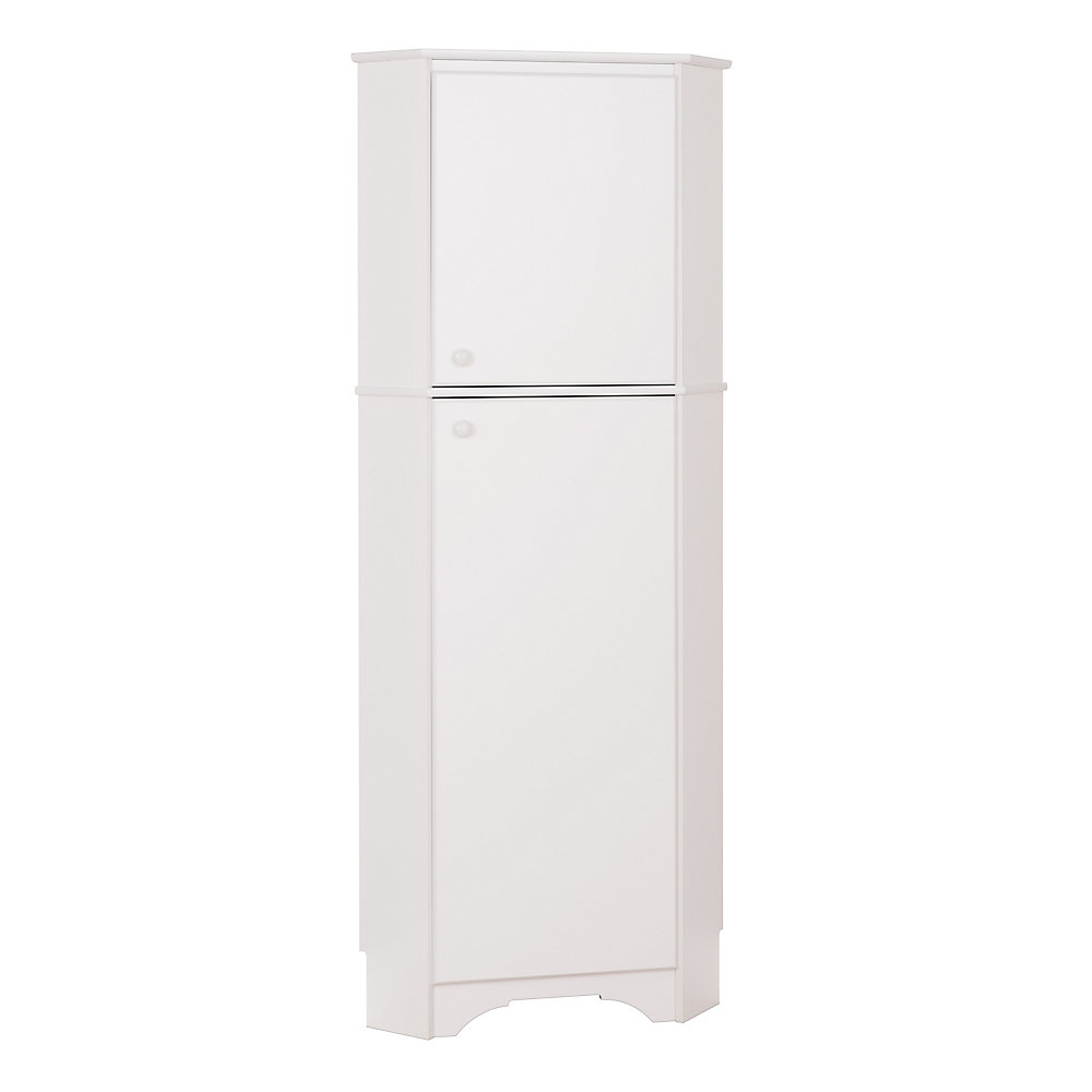 Elite 72-inch x 29-inch x 19-inch 2-Door Corner Storage Cabinet in White