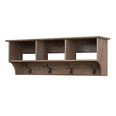 Étagère à compartiments pour vestibule, grise de style bois de grève