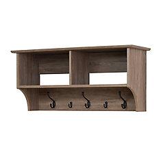 Étagère à crochets pour vestibule, largeur de 36 po, grise de style bois de grève