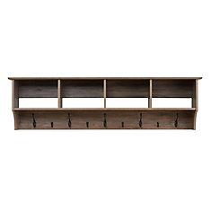 Étagère à crochets pour vestibule, largeur de 60 po, grise de style bois de grève