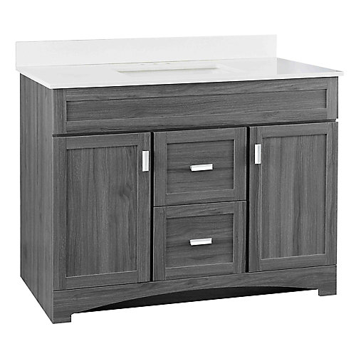 Rocara 42-inch 2-Door 2-Drawer Vanity in Antique Gray with Engineered Stone Top in White