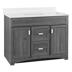 GLACIER BAY Rocara 42-inch 2-Door 2-Drawer Vanity in Antique Gray with Engineered Stone Top in White