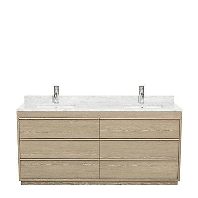Muriel 72 Inch Double Bathroom Vanity In Sand White Carrera Marble Top Undermount Sinks No Mirror