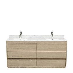 Wyndham Collection Muriel 71.75-inch W 6-Drawer Freestanding Vanity in Grey With Marble Top in White, Double Basins