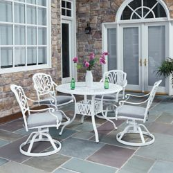 Home Styles Floral Blossom 5-Piece Patio Dining Set with 42-inch Round Table with Swivel Chairs in White