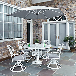 Home Styles Floral Blossom 5-Piece Patio Dining Set with 48-inch Round Table, Swivel Chairs & Umbrella White