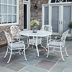 Home Styles Floral Blossom 5-Piece Patio Dining Set with 48-inch Round Table and Arm Chairs in White