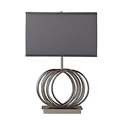Titan Lighting Ekersall 22 Inch Table Lamp In Chrome With Grey Faux Silk Shade