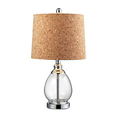22 Inch Clear Glass Table Lamp In Polished Chrome