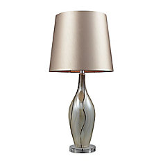 Etna 30 Inch Ceramic Table Lamp In Painted Ribbon Finish With Champagne Shade