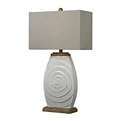 Titan Lighting 31 Inch Glazed Ceramic Table Lamp With Natural Wood Tone Accents