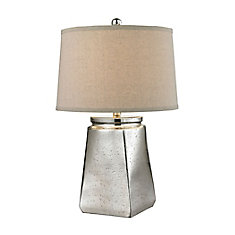 Tapered Square 25 Inch Table Lamp in Silver Mercury