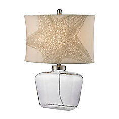 26 Inch Clear Glass Bottle Table Lamp in Polished Nickel