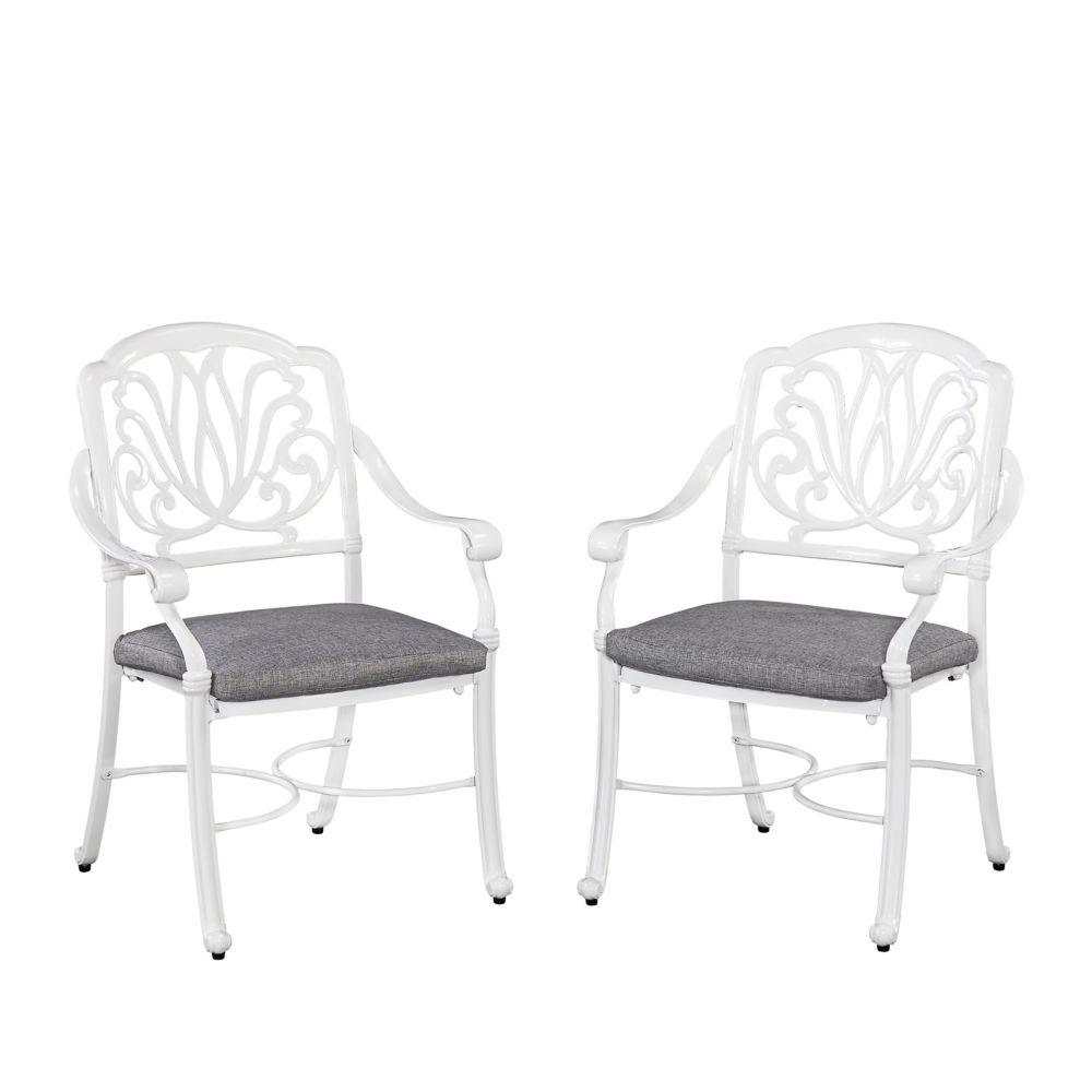 Home Styles Floral Blossom Patio Arm Chair in Floral Blossom White with Cushion (Set of 2)