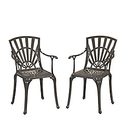Home Styles Largo Patio Dining Chair in Taupe (Set of 2)