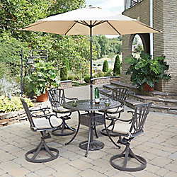 Home Styles Largo 5-Piece 42-inch Dining Set with Cushioned Swivel Chairs & Umbrella in Taupe