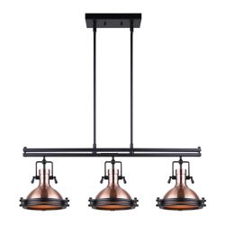 Canarm Ltd Rosa 3-Light Rod Pendant in Matte Black/Bronze with Frosted Glass Diffuser