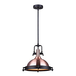Canarm Ltd Rosa 1-Light Matte Black/Bronze Rod Pendant With Frosted Glass Diffuser