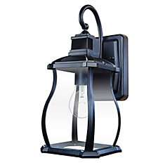 180 Degree Black Motion Activated Outdoor Wall Lantern