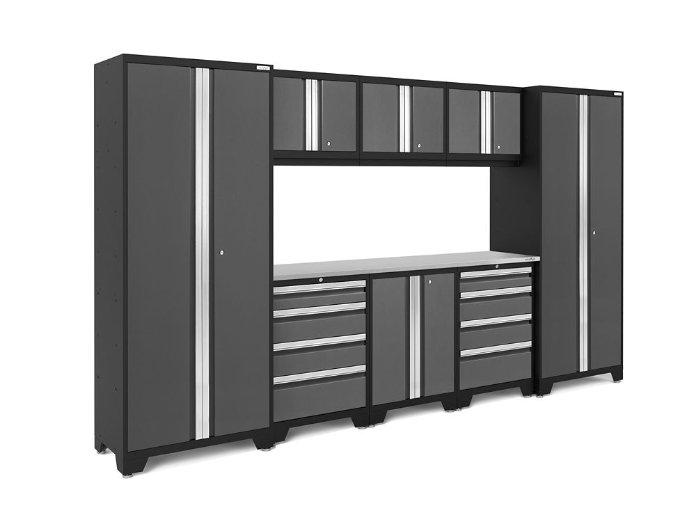 NewAge Products Bold 3.0 24-Gauge Welded Steel Stainless Steel Worktop Cabinet Set in Grey (9-Piece)