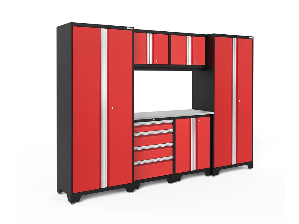 NewAge Products Bold 3.0 Series 7-Piece Garage Cabinet Set in Red