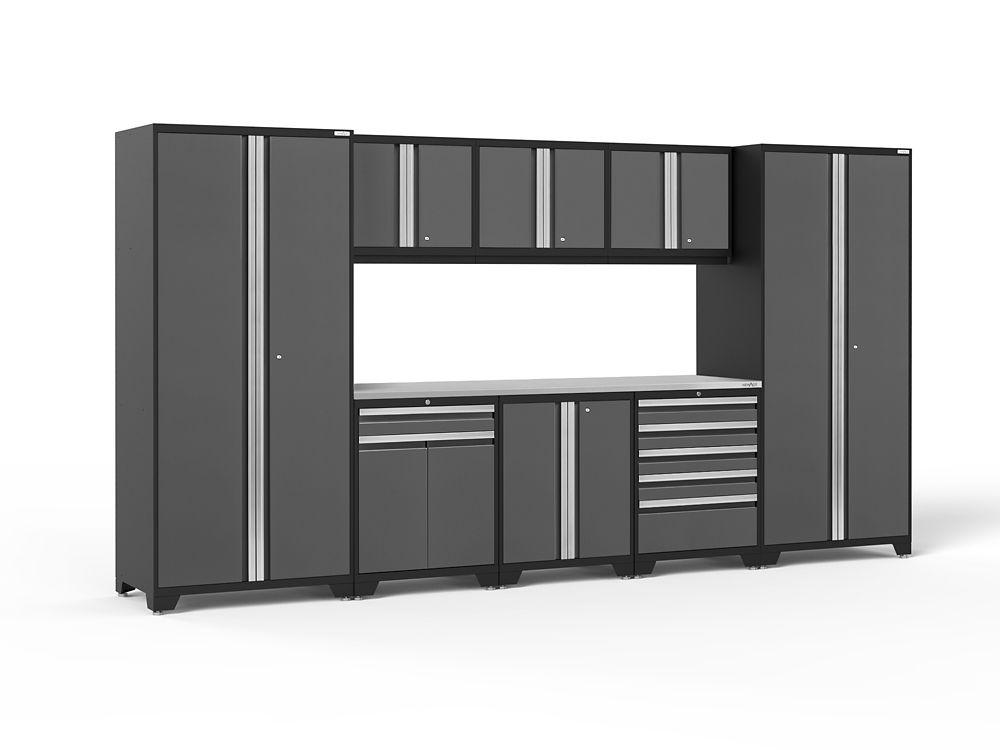 NewAge Products Pro 3.0 18-Gauge Welded Steel Stainless Steel Worktop Cabinet Set in Grey (9-Piece)
