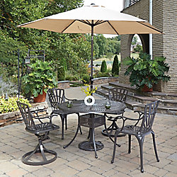 Home Styles Largo 5-Piece 48-inch Dining Set with Chairs & Umbrella in Taupe
