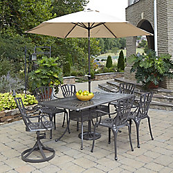 Home Styles Largo 7-Piece Rectangular Patio Dining Set with Dining Chairs & Umbrella in Taupe