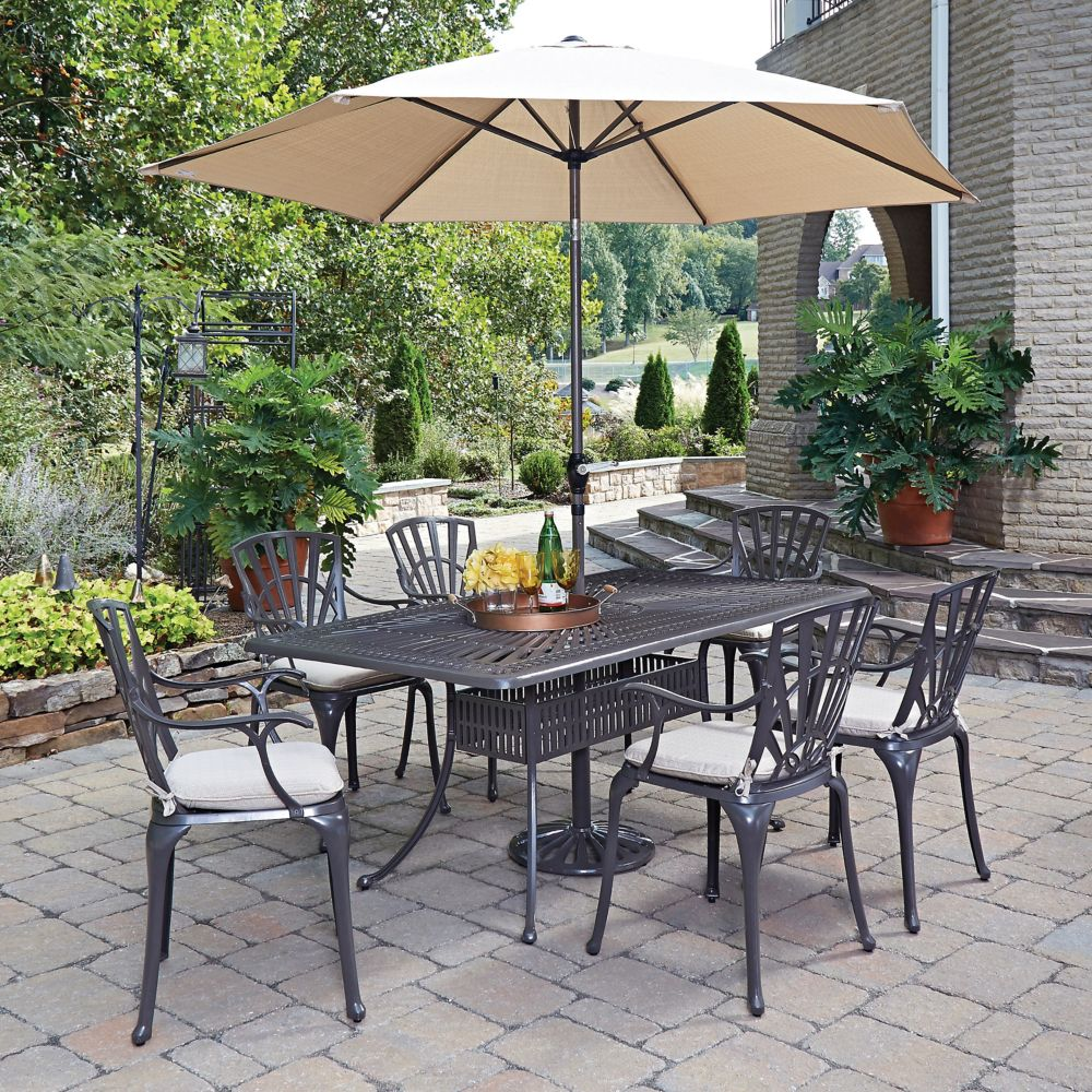Home Styles Largo 7-Piece Rectangular Patio Dining Set with Cushioned Arm Chairs & Umbrella in Charcoal