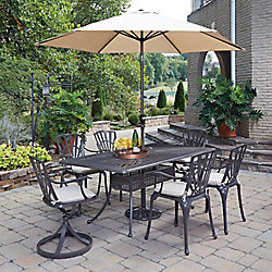Home Styles Largo 7-Piece Rectangular Patio Dining Set with Cushioned Dining Chairs & Umbrella in Taupe