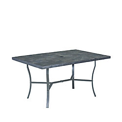 Home Styles Stone Veneer Patio Dining Table with Slate Tile Top