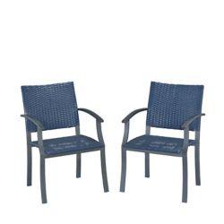 Home Styles Paire de chaises placage en pierre synthétique-armure bras